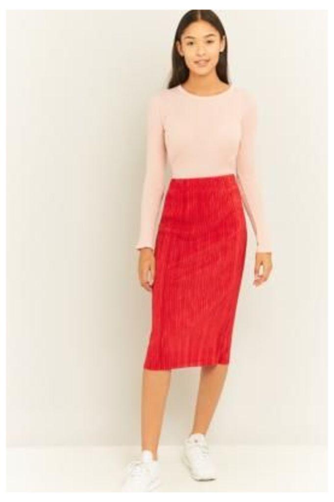 Light Before Dark Pleated Midi Skirt, RED