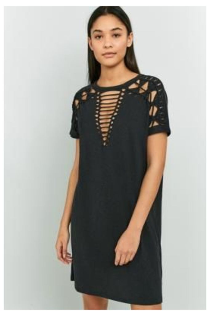 Pins & Needles Macrame T-Shirt Dress, BLACK