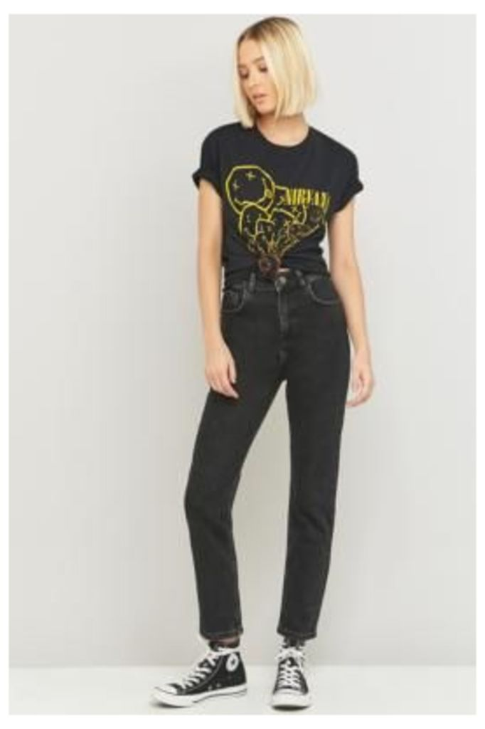 BDG High-Waisted Washed Black Girlfriend Jeans, BLACK