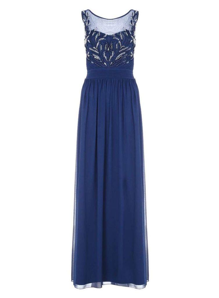 Womens *Quiz Chiffon Beaded Maxi Dress- Navy
