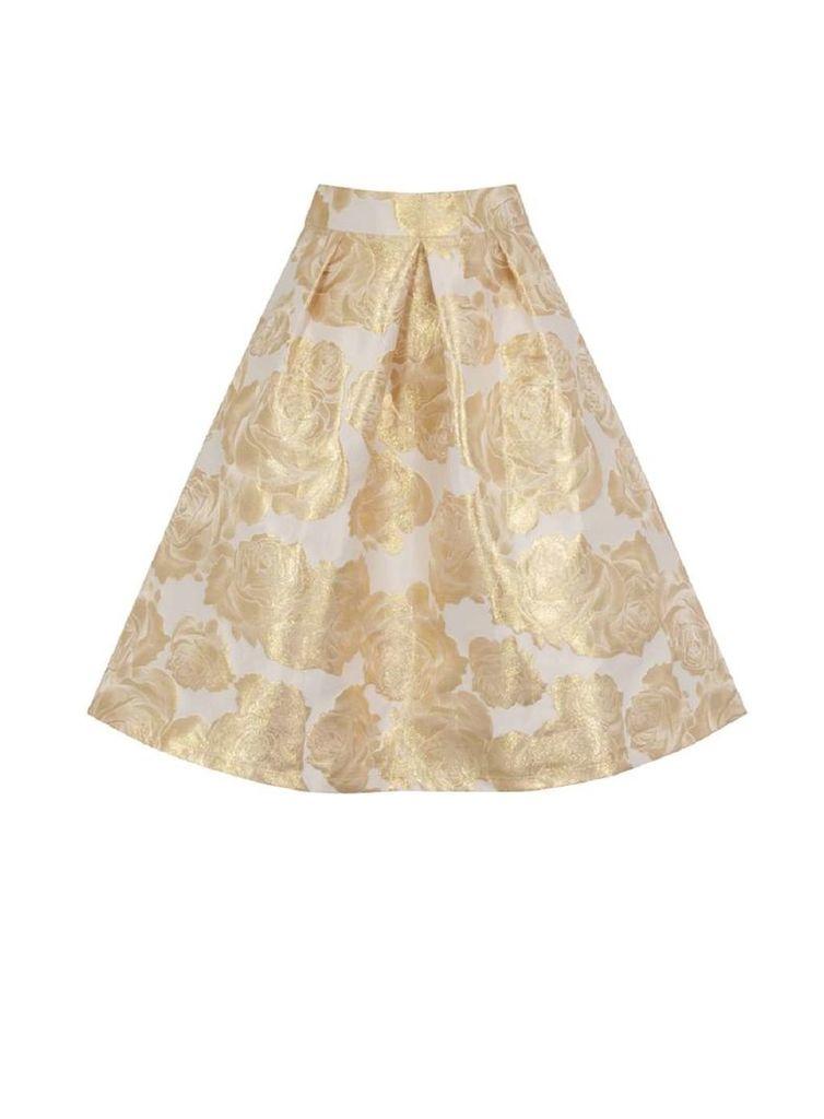 Womens *Chi Chi London Gold Floral Print Co-Ordinate Midi Skirt- Gold