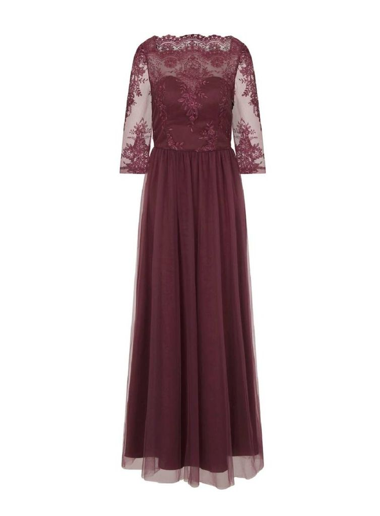 Womens *Chi Chi London Red Embroidered Maxi Dress- Red