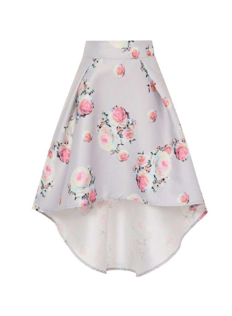 Womens *Chi Chi London Silver Floral Print Dip Hem Skirt- Silver