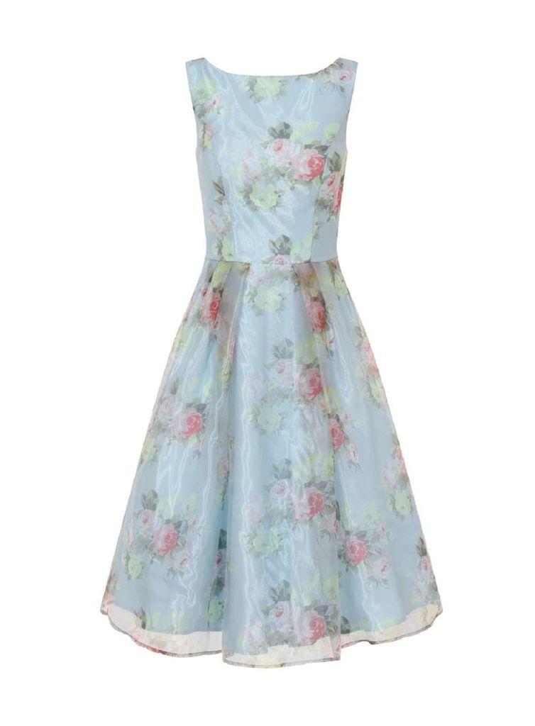 Womens **Chi Chi London High Neck Floral Midi Dress- Blue