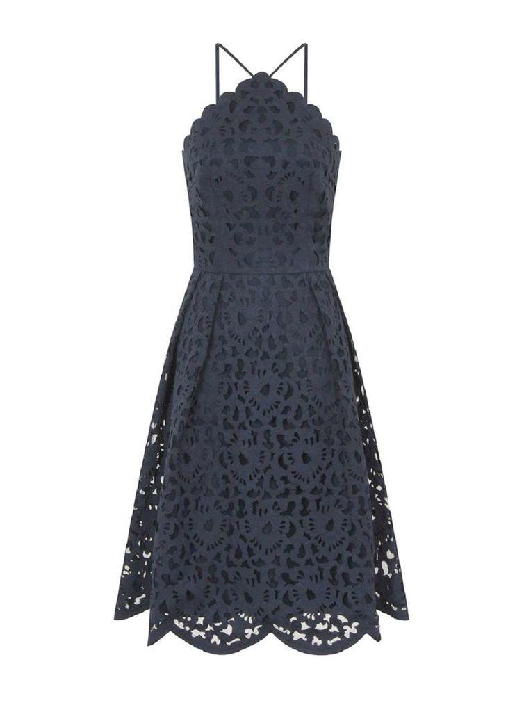 Womens *Chi Chi London Navy Laser Cut Midi Dress- Blue