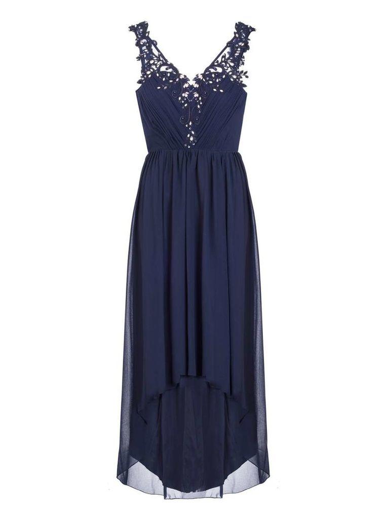 Womens *Quiz Chiffon Dip Hem Dress- Blue