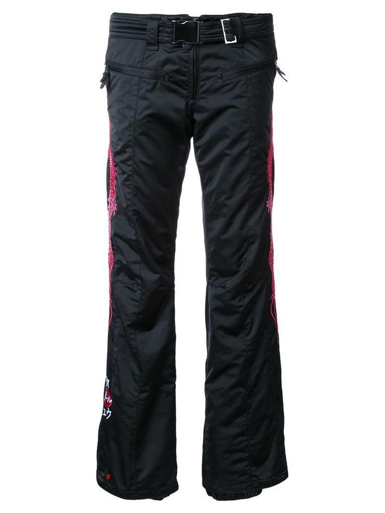 Kru - embroidered dragon ski pants - women - Polyester - S, Black
