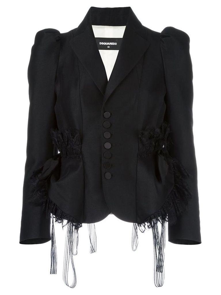 Dsquared2 - lace trim smocking jacket - women - Silk/Polyamide/Polyester/Wool - 42, Black