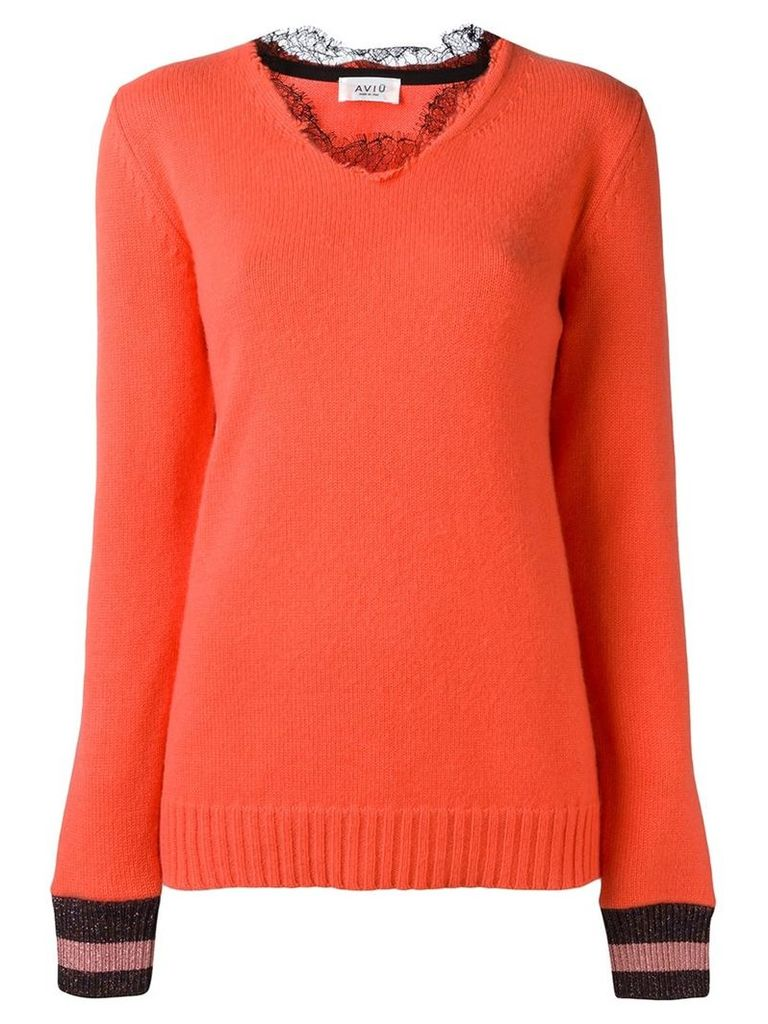Aviù - lace collar jumper - women - Polyamide/Polyester/Spandex/Elastane/Cashmere - 44, Pink/Purple