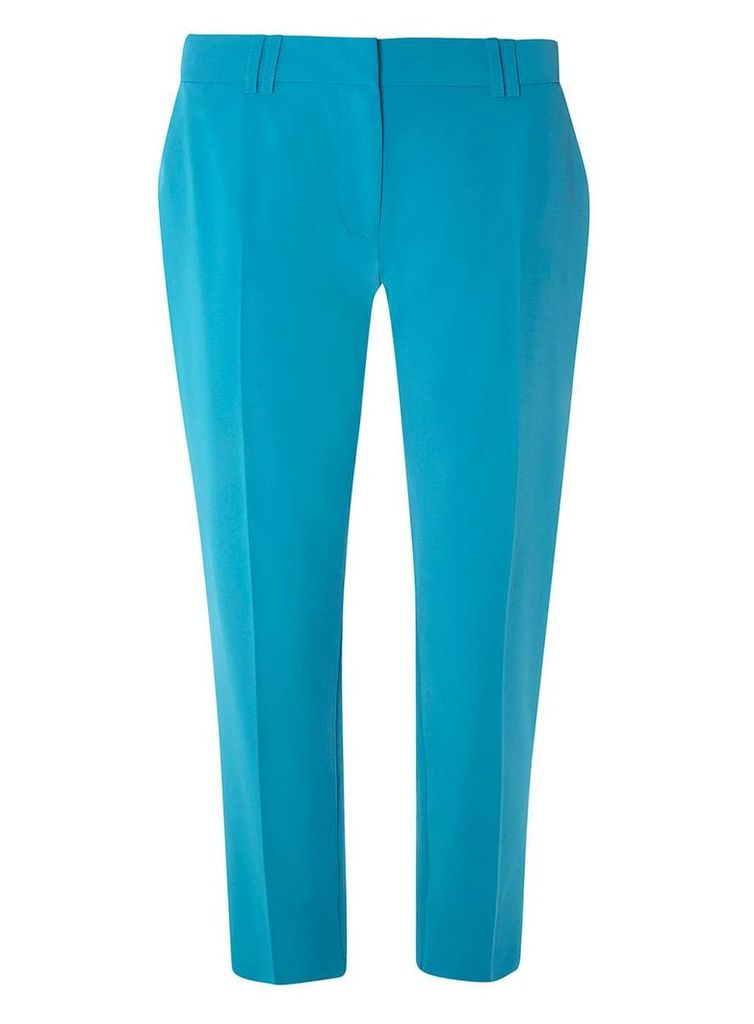 Womens Turquoise Ankle Grazer Trousers- Turquoise