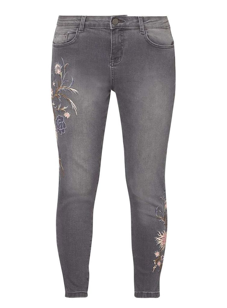 Womens Petite Grey Embroidered Jeans- Grey