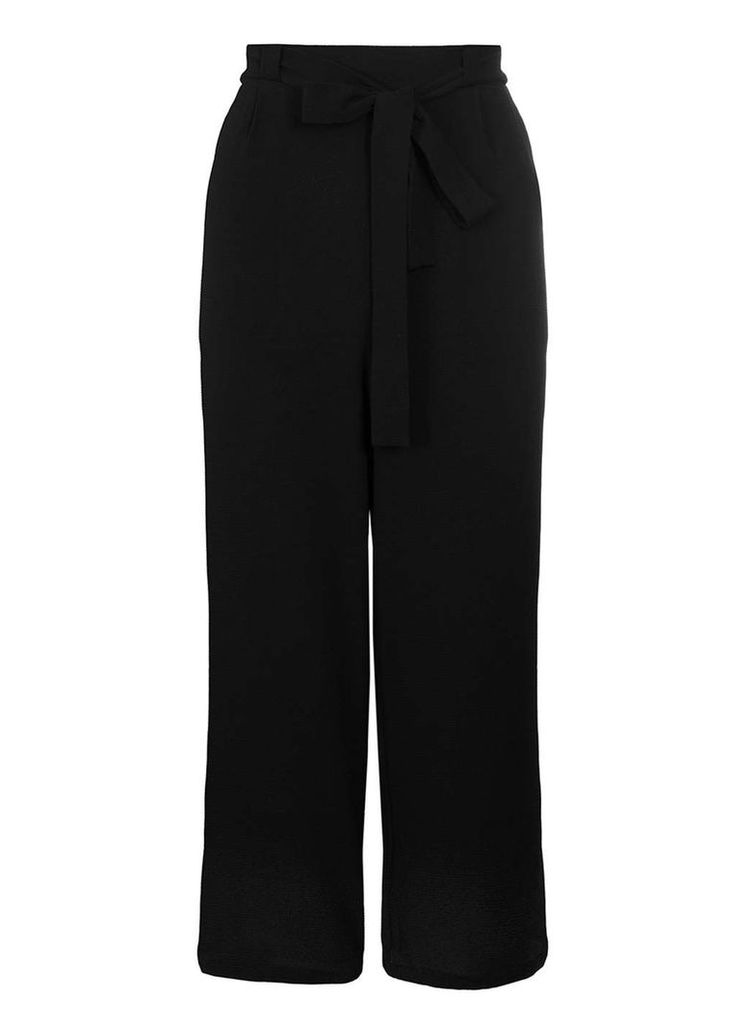 Womens *Quiz Black Crepe Tie Belt Culottes- Black