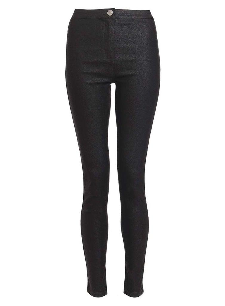 Womens *Quiz Black Shiny PU Skinny Trousers- Black