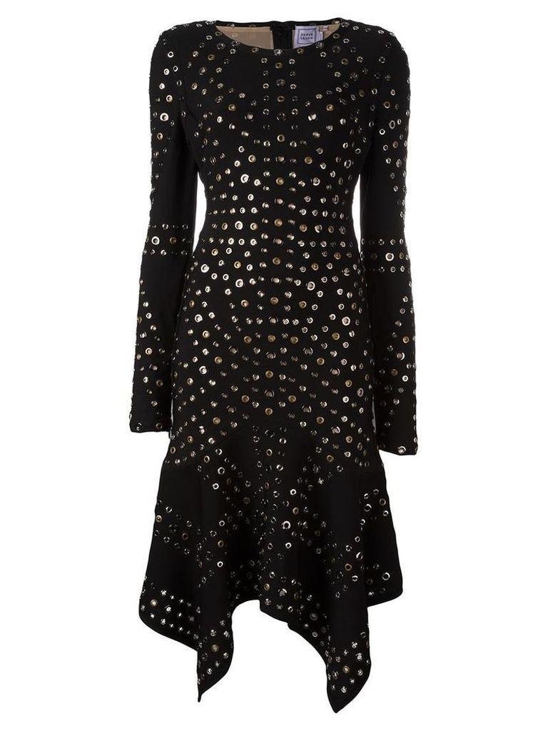 Hervé Léger - eyelet handkerchief dress - women - Nylon/Polyester/Spandex/Elastane/Metal (Other) - M, Black