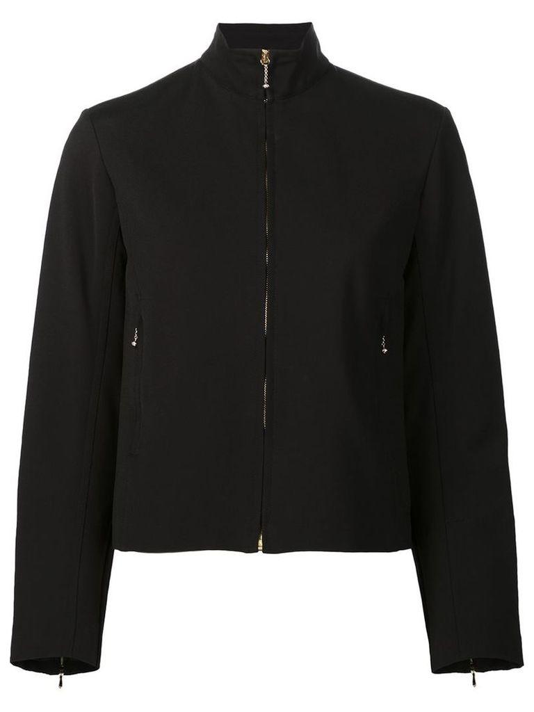 Nina Ricci - zipped jacket - women - Silk/Elastodiene/Viscose/Polyimide - 40, Black