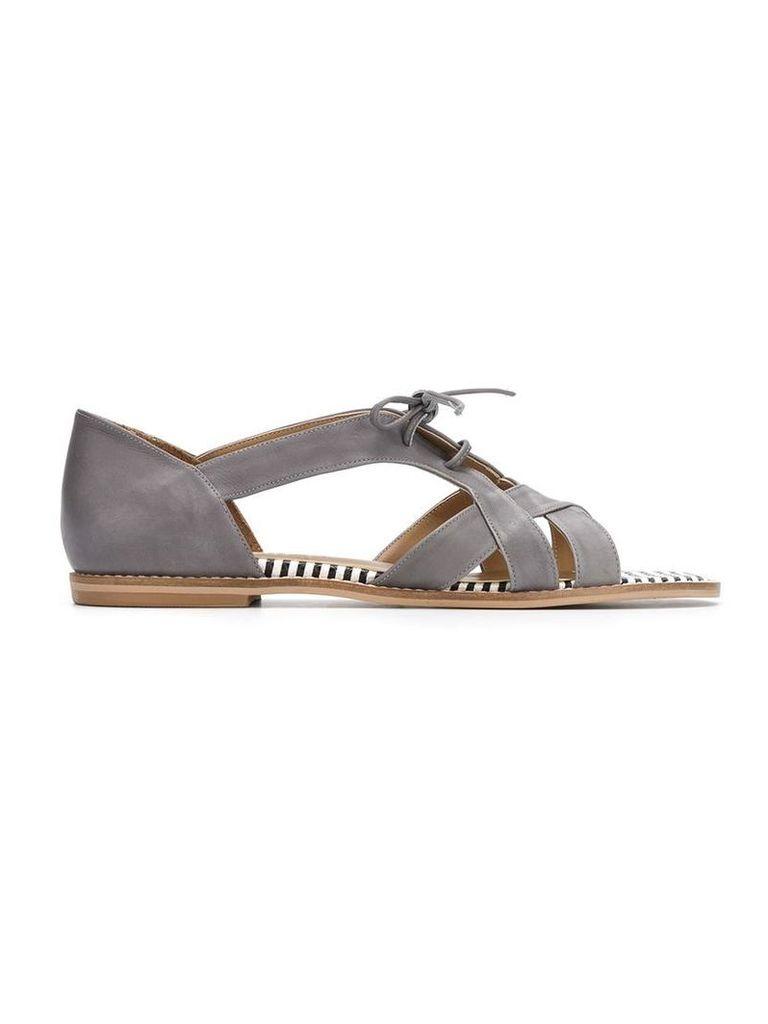 Manolita - leather flat sandals - women - Leather - 39, Grey