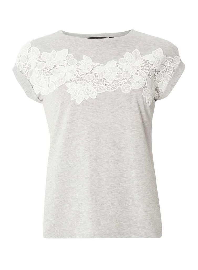 Womens Grey Lace Yoke T-Shirt- Grey