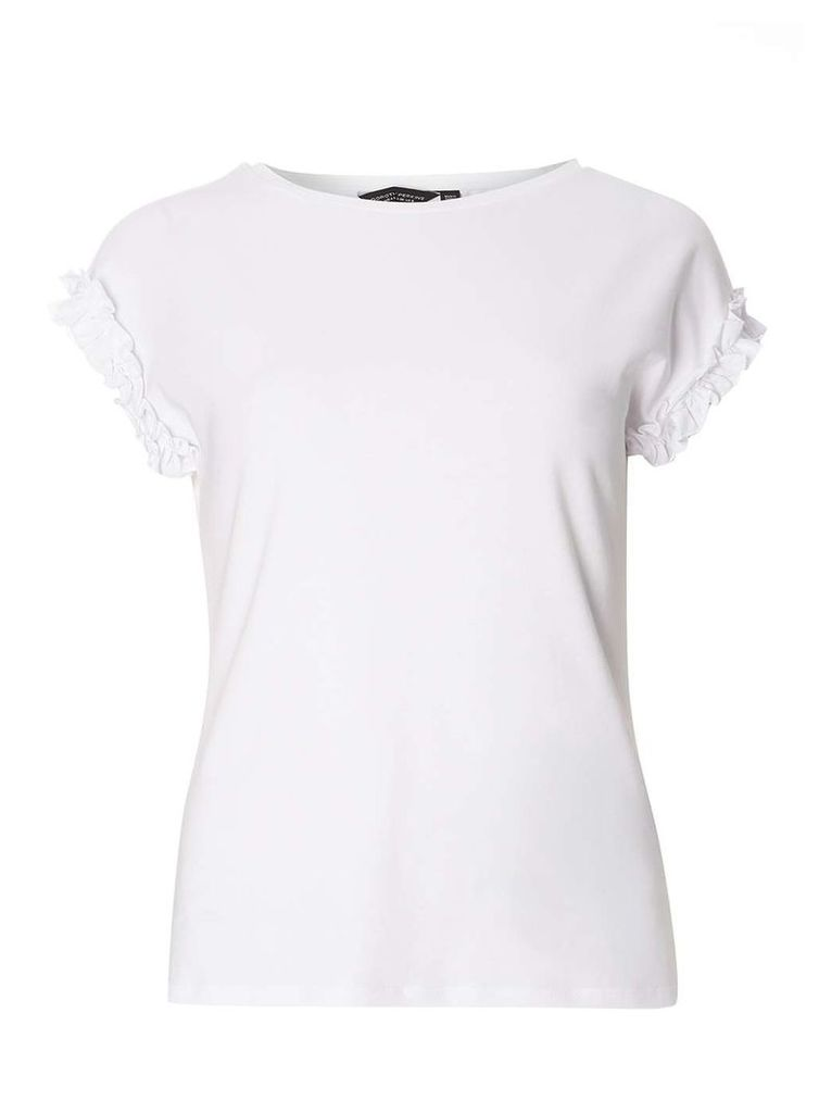 Womens White Frill Sleeve T-Shirt- White