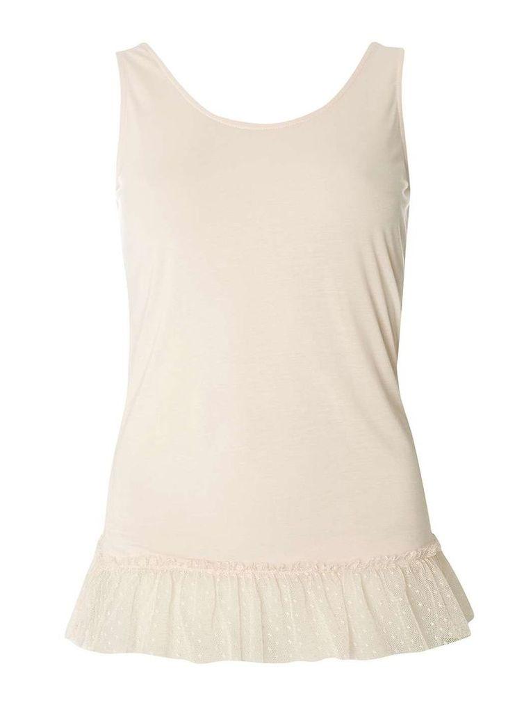 Womens Nude Dobby Mesh Hem Vest- White