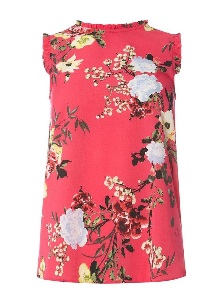 Womens Pink Floral Sleeveless Top- Pink