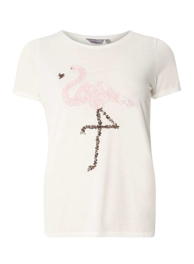 Womens Petite White Flamingo Sequin T-Shirt- White