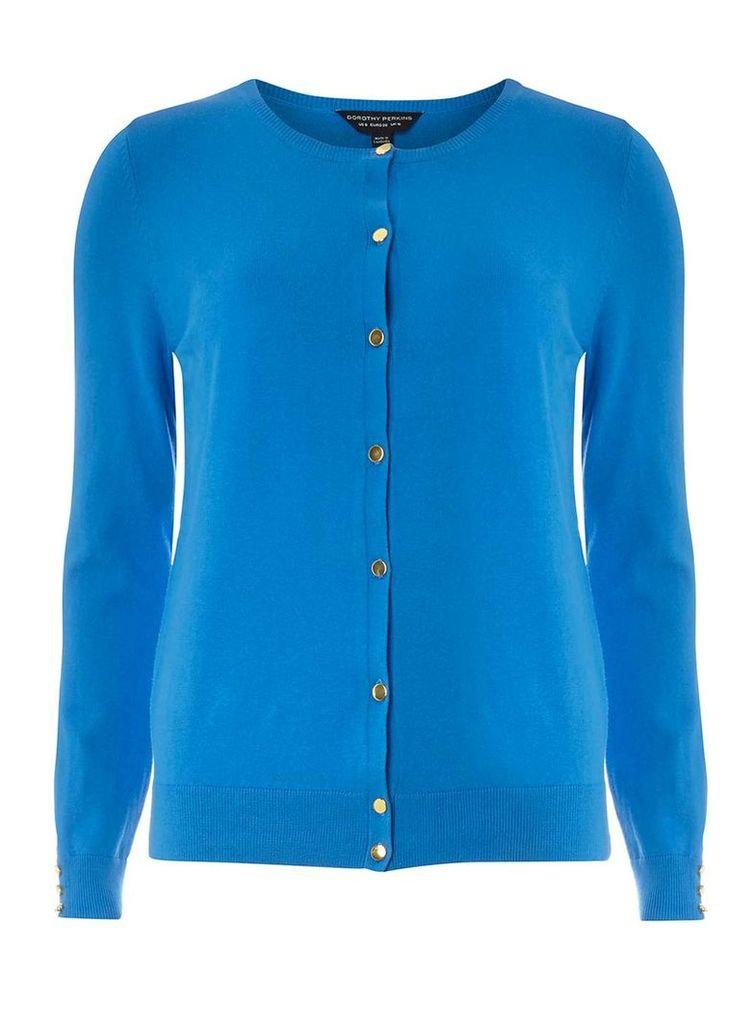 Womens Blue Cotton Cardigan- Blue
