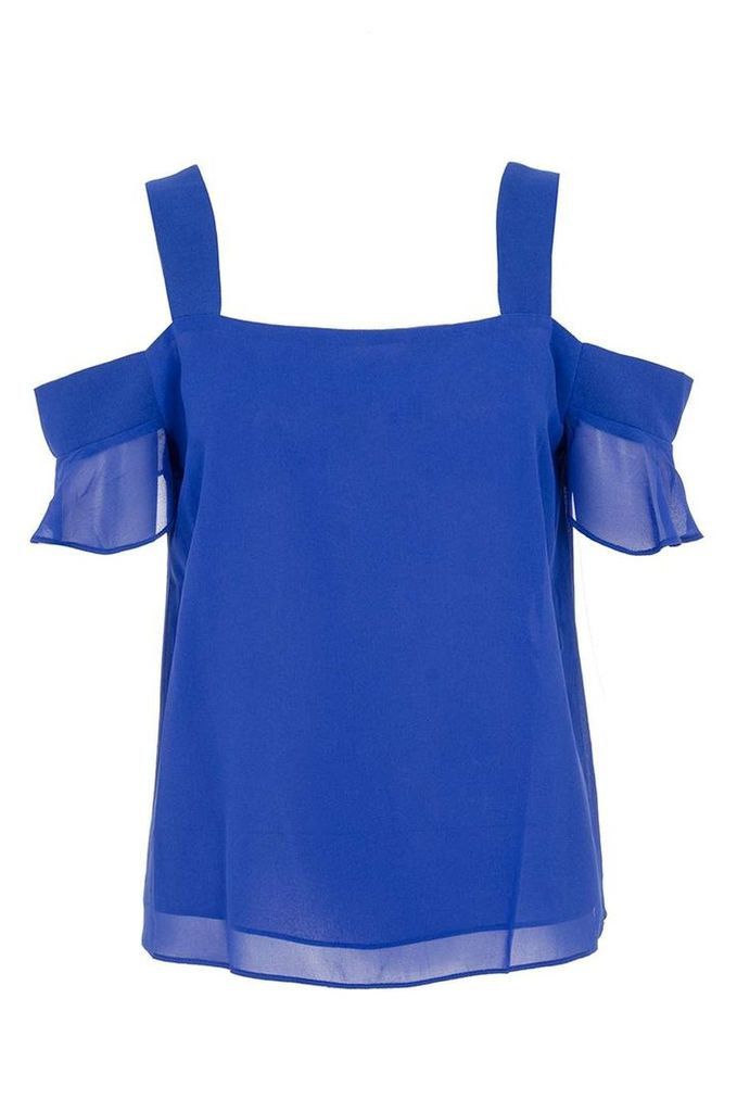 Womens *Quiz Blue Chiffon Frill Sleeve Top- Blue