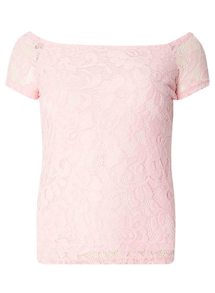 Womens Pink Lace Bardot Top- Pink