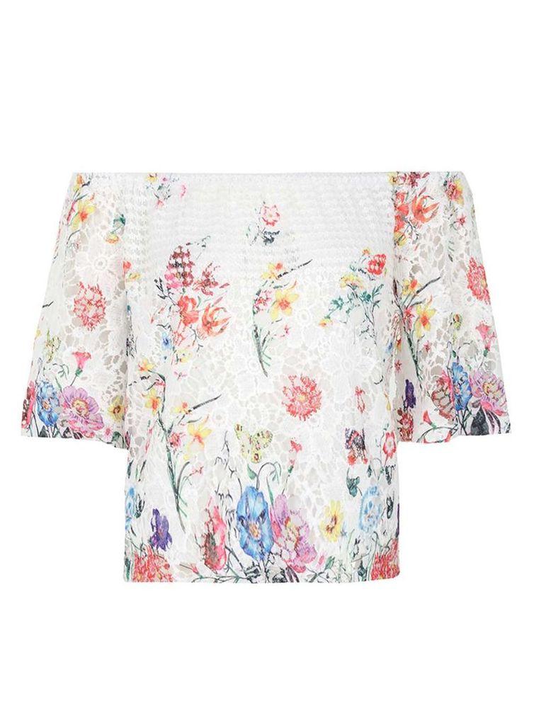 Womens *Quiz Cream Lace Floral Bardot Top- Cream