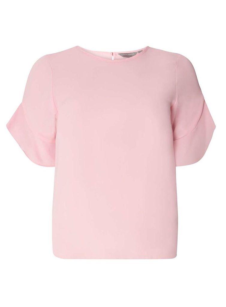 Womens Petite Pink Ruffle Sleeve Top- Pink