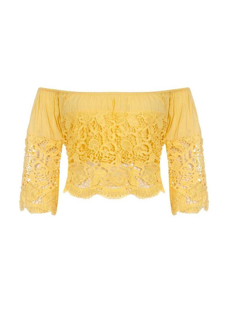 Womens *Quiz Yellow Crochet Bardot Top- Yellow