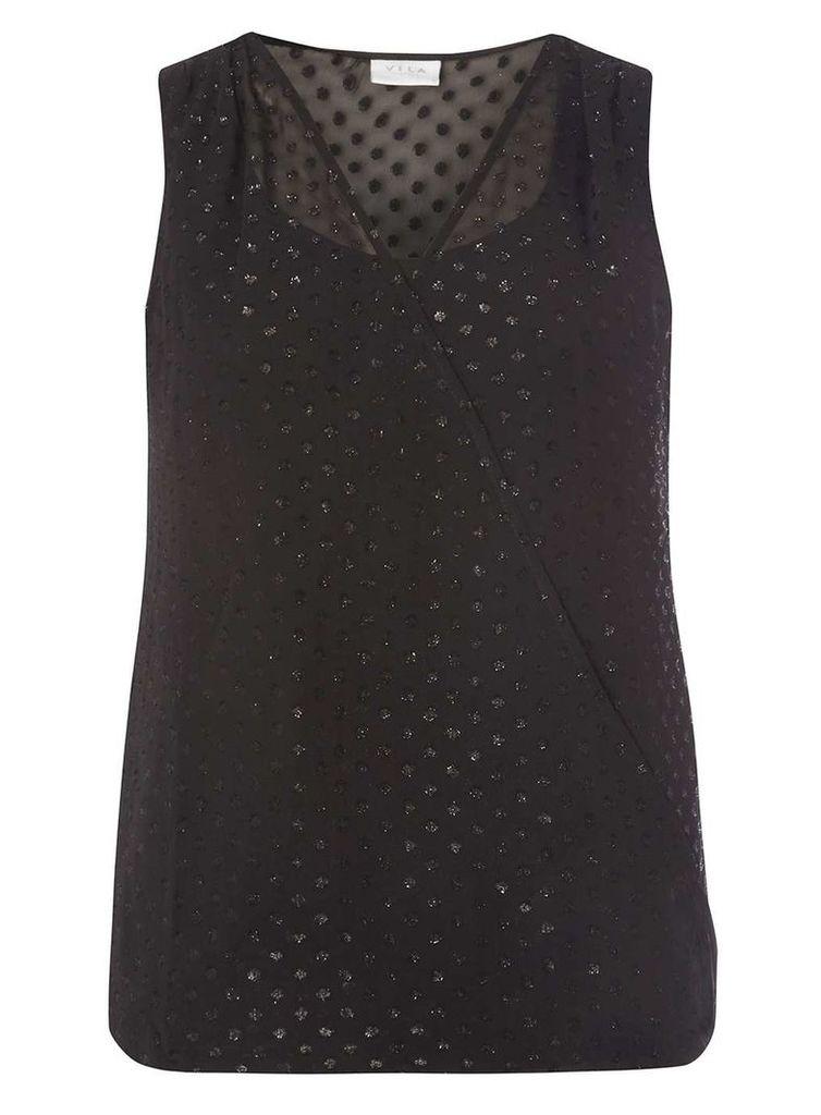 Womens **Vila Black Sparkle Top- Black