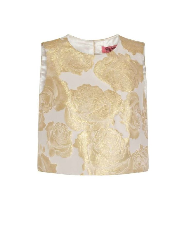 Womens *Chi Chi London Gold Floral Print Co-Ord Crop Top- Gold