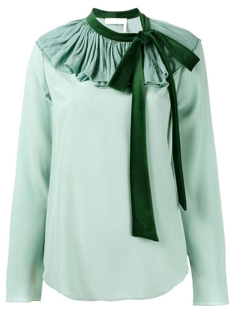 Chloé - pleated collar blouse - women - Silk/Cotton - 42, Green