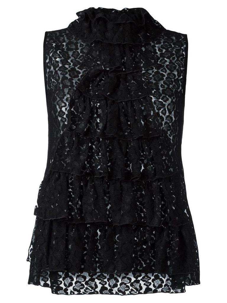 Giamba - ruffled lace top - women - Polyamide/Viscose - 44, Black
