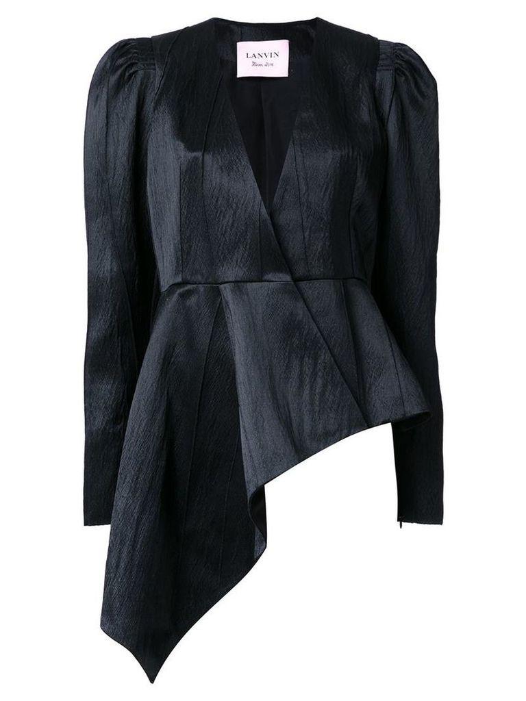 Lanvin - asymmetric blazer - women - Silk/Acrylic/Wool - 38, Black