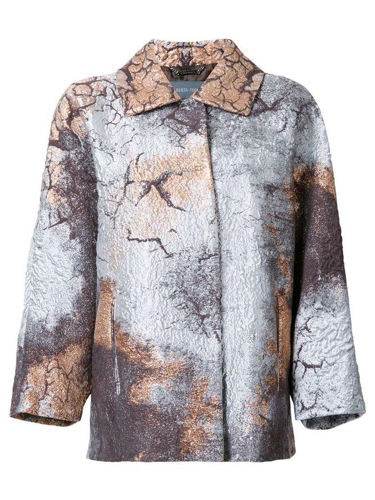 Alberta Ferretti - stained metallic (Grey) effect coat - women - Silk/Cotton/Nylon/Other fibres - 46