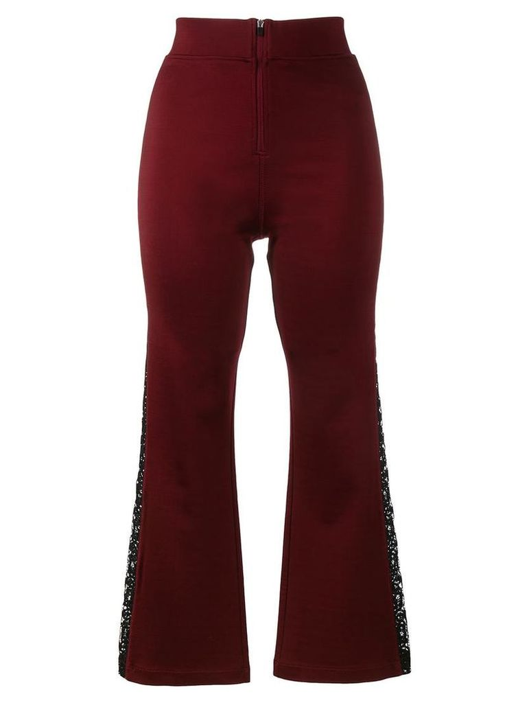 Ganni - bootcut lace panel trousers - women - Spandex/Elastane/Viscose - L, Pink/Purple