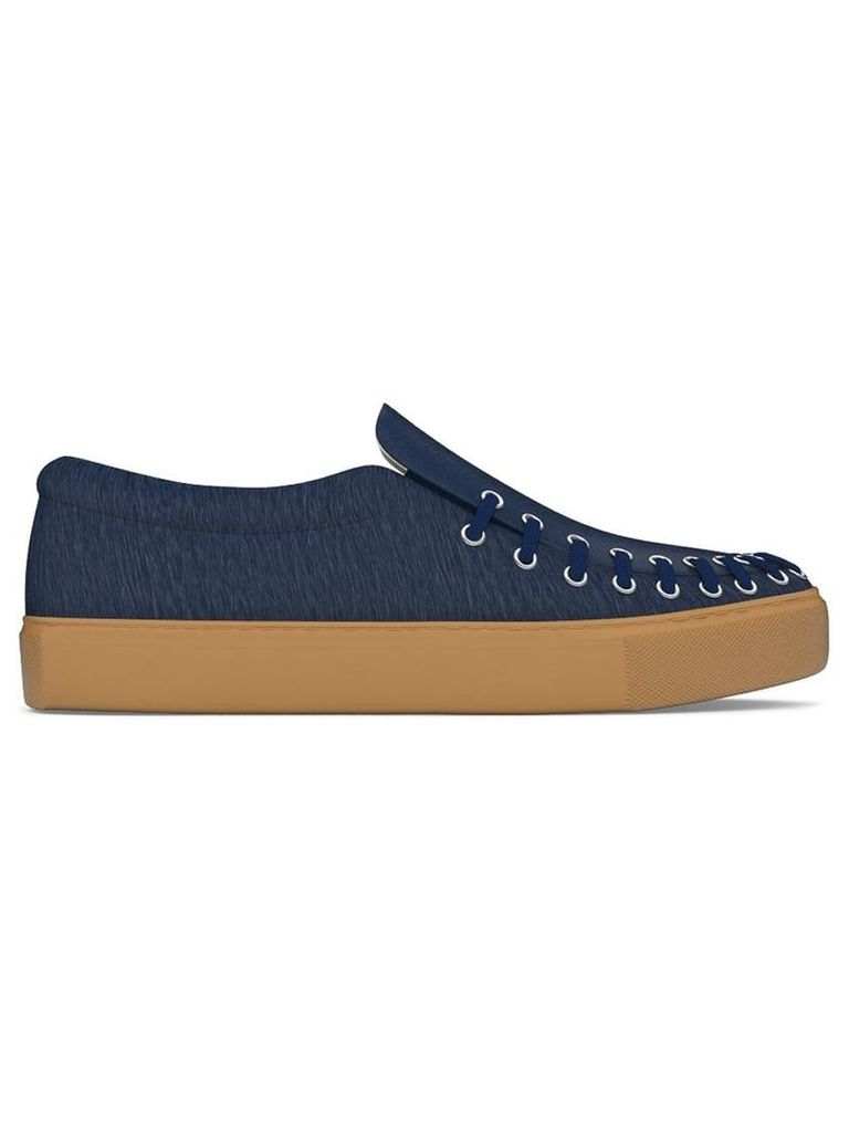 Myswear - 'Conduit' slip-on sneakers - women - Calf Leather/Nappa Leather/Calf Hair/rubber - 39, Blue