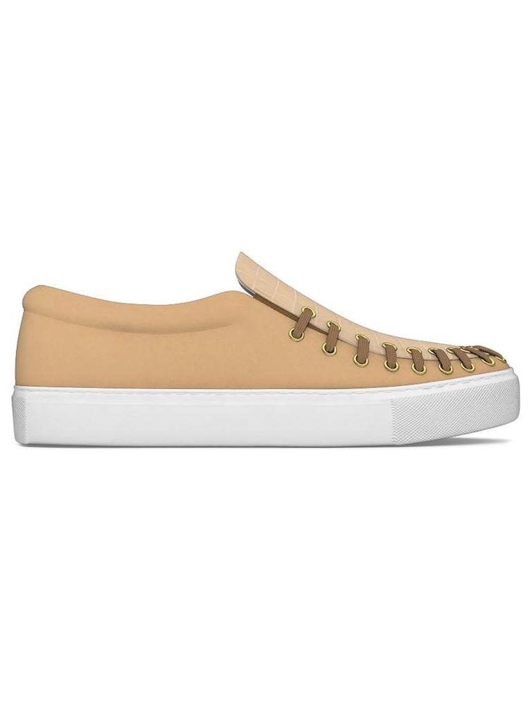 Myswear - 'Conduit' slip-on sneakers - women - Calf Leather/Crocodile Leather/rubber - 37, Nude/Neutrals