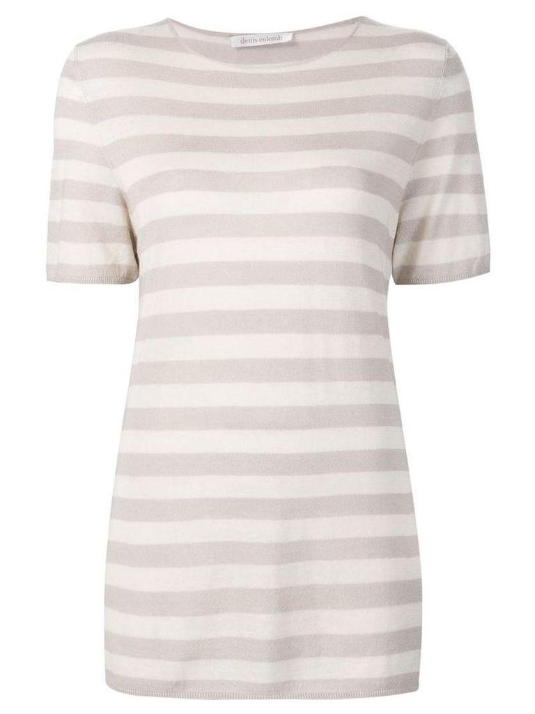 Denis Colomb - short sleeved striped sweatshirt - women - Silk/Cashmere - S, Nude/Neutrals