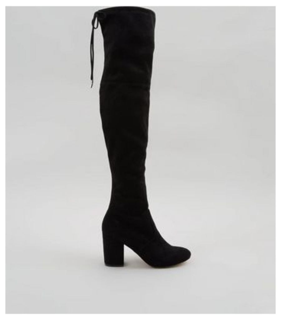 Black Suedette Tie Back Over The Knee Heeled Boots