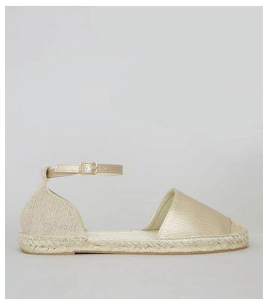 Wide Fit Gold Espadrille Sandals