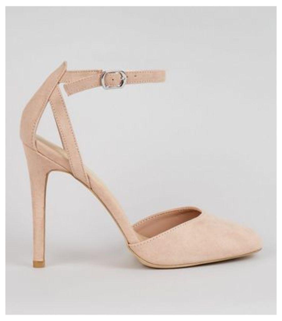 Nude Pink Suedette Ankle Strap Heels