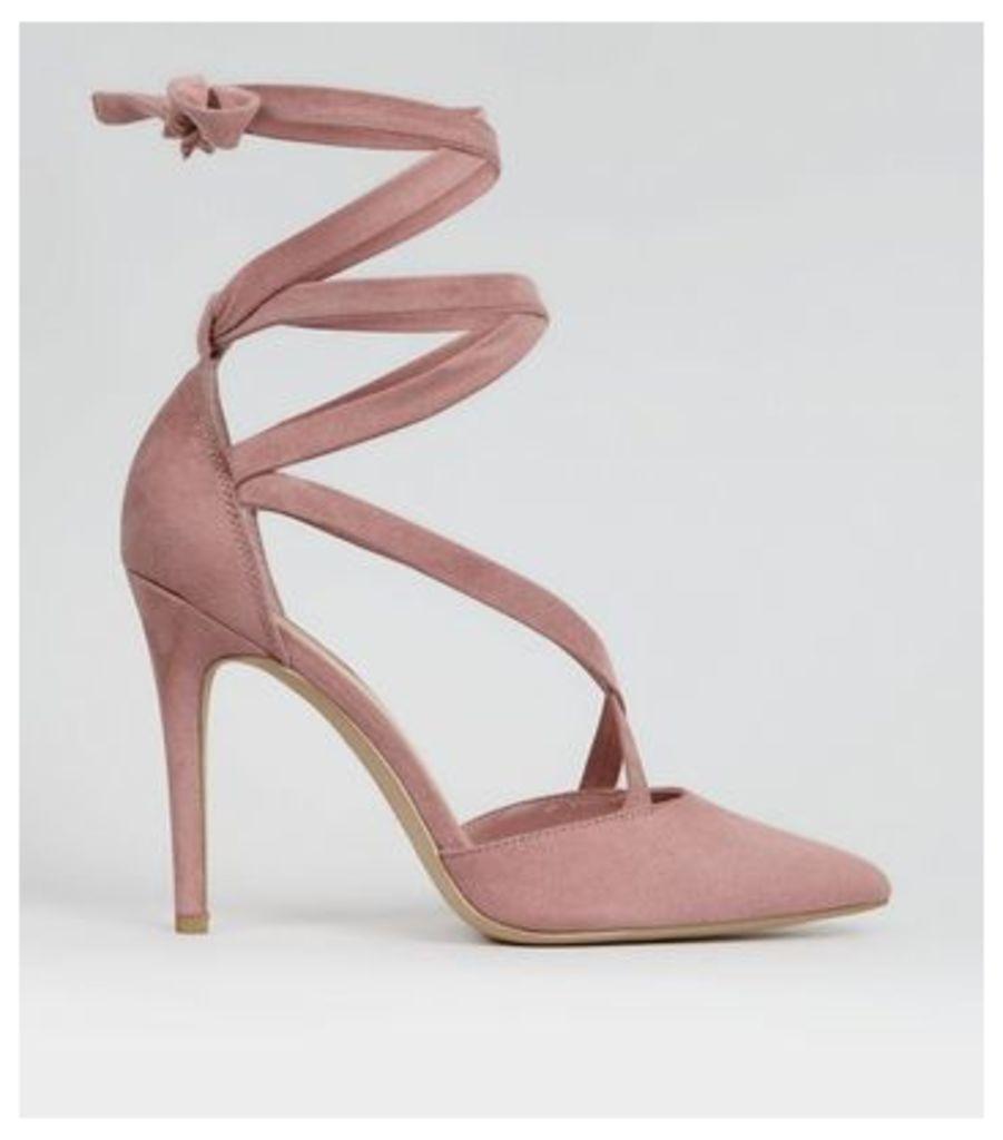 Pink Suedette Strappy Pointed Heels