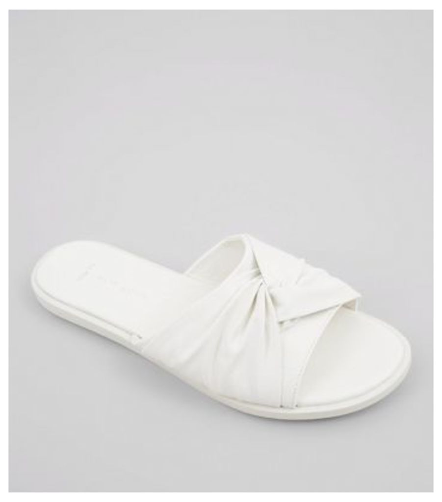 Wide Fit White Knot Top Sliders