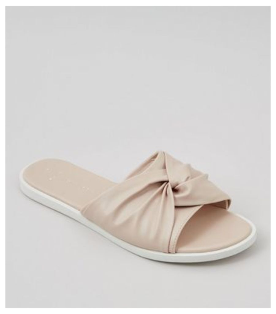 Wide Fit Nude Pink Knot Top Sliders