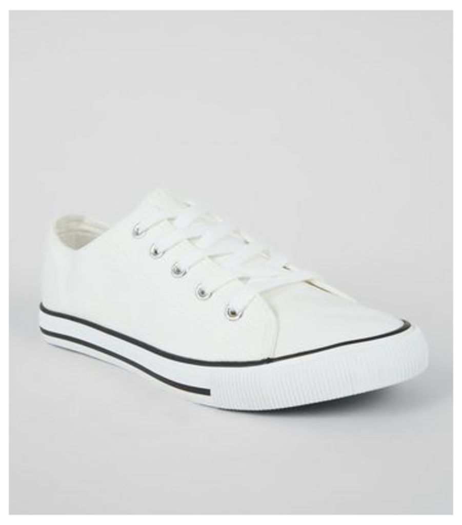 White Contrast Trim Lace Up Trainers