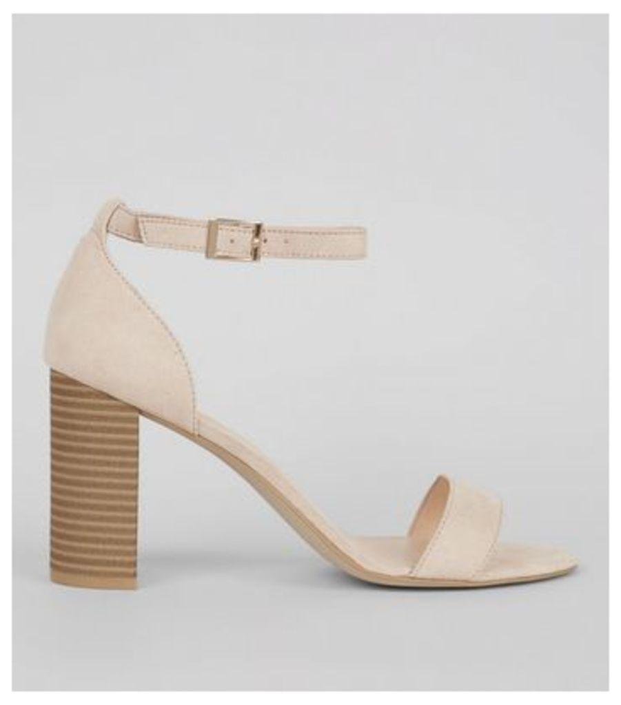 Cream Suedette Ankle Strap Block Heels
