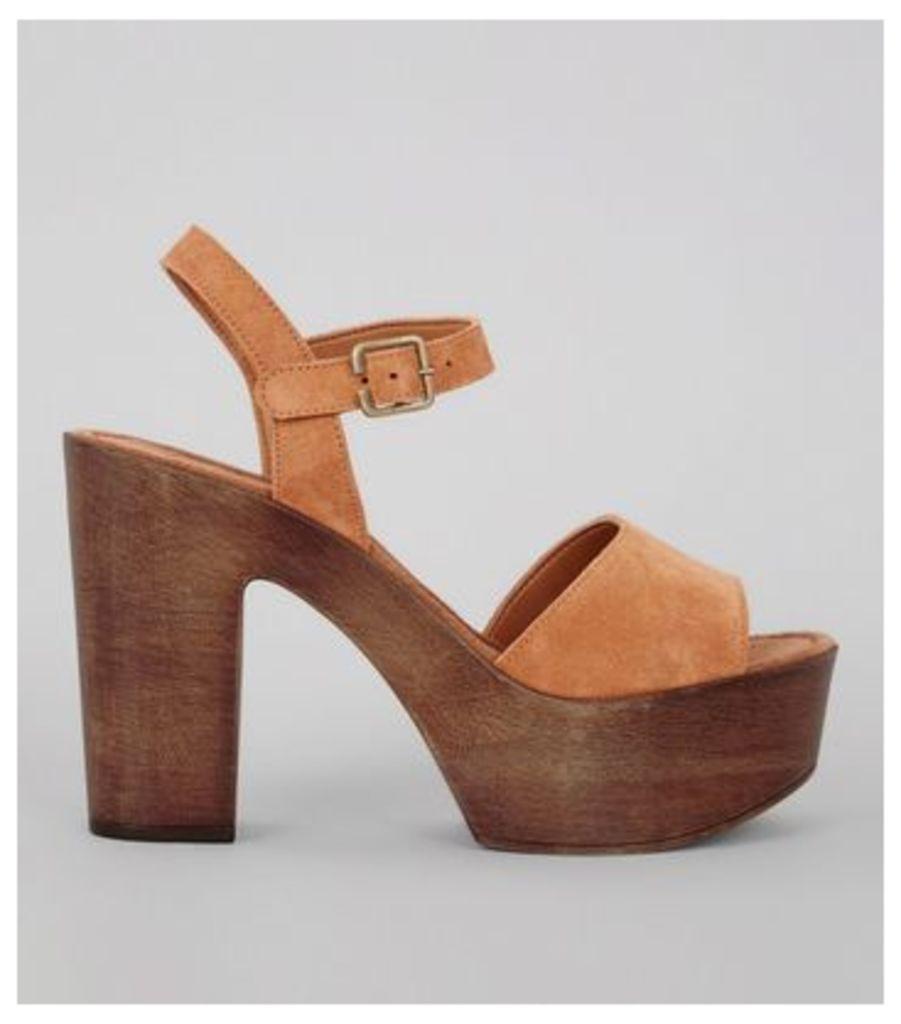 Tan Suede Wooden Block Heeled Sandals